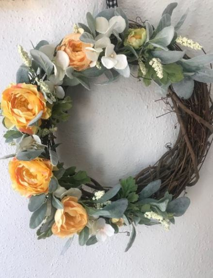 Yellow Peony Wreath1